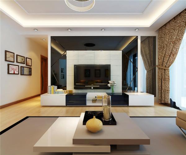 接近纯天然色的地板,再加上纯白色的回型槽吊顶,有一种天地融合的感觉清新。电视背景墙采用分层来做,周边的大背景是用灰镜营造出一种光亮个性的感觉,中间则采用石材来增加电视背景墙与整体环境的一个融合度。