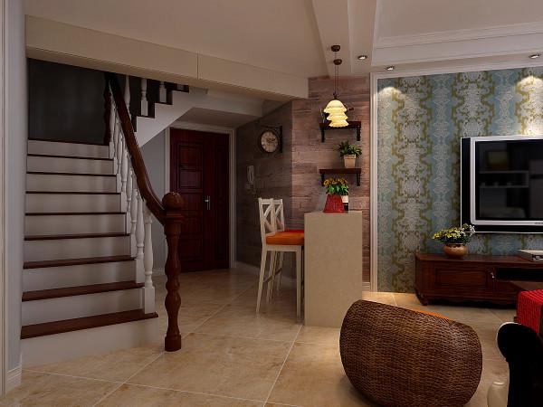 楼梯设计为之字形木质楼梯