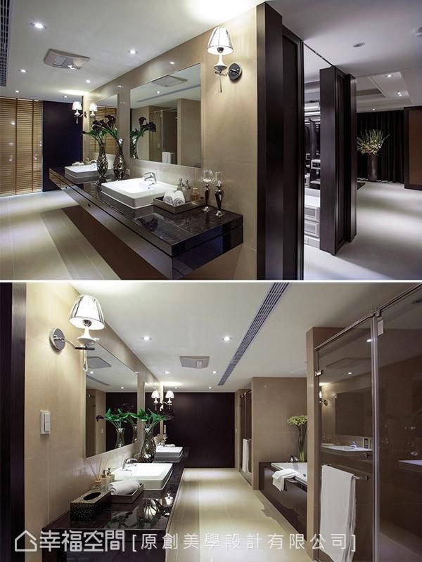 以双动线设计串联主卧睡眠区、更衣室及卫浴,浅金色的卫浴空间散发出典雅气质,搭配饭店式的动线安排,让人彷佛入住VIP套房的顶级享受。