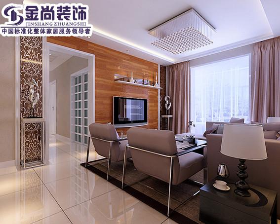 客厅电视背景墙为木地板拼贴,皮质沙发更显的居家休闲