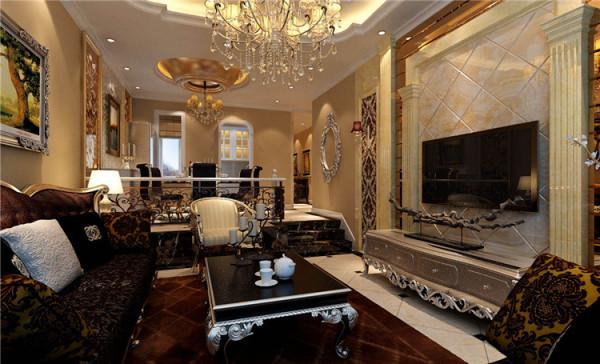 客厅设计: 设计理念:浅咖啡色的墙面,浅黄色的石材造型,白色的顶面,深色的家具,搭配少许香槟金、银色的使用,在低调的单色世界里融合了奢华的气息。亮点:空间的立体感倍增,不会使空间显得局促狭小