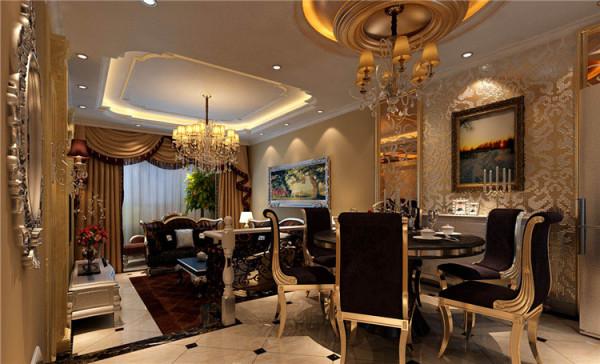 餐厅设计: 设计理念:餐厅与客厅相连接,既要划分出餐厅的区域,又不能因为区域的划分而使空间割裂,失去大空间的明亮宽敞。亮点:罗马柱作为欧式的代表,在餐厅中得以运用,同时为了增加现代感,在古典