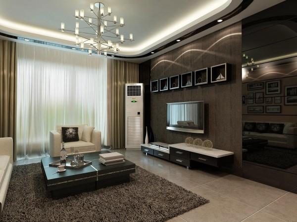 因为客户是一对小年轻 比较倾向于时尚 所以客厅的颜色我选择了比较明亮 背景墙选了比较时尚的颜色配上顶部照下来的灯光 既简单又大方 本客厅以简洁明快的设计风格为主调