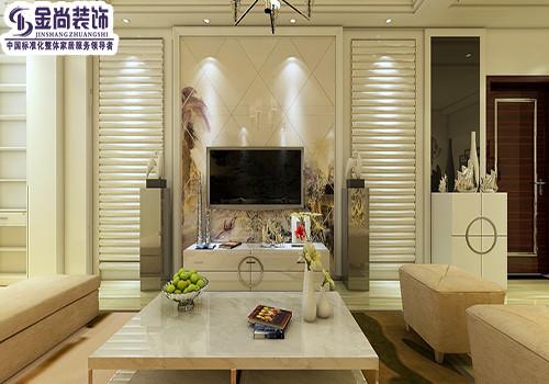 客厅整体色调以浅色为主,电视背景墙和沙发背景墙以石膏板为主加以彩绘。吊顶为直线吊顶并通体布置了两圈顶角石膏线,配上水晶吊灯简单大方,时尚又简约,。