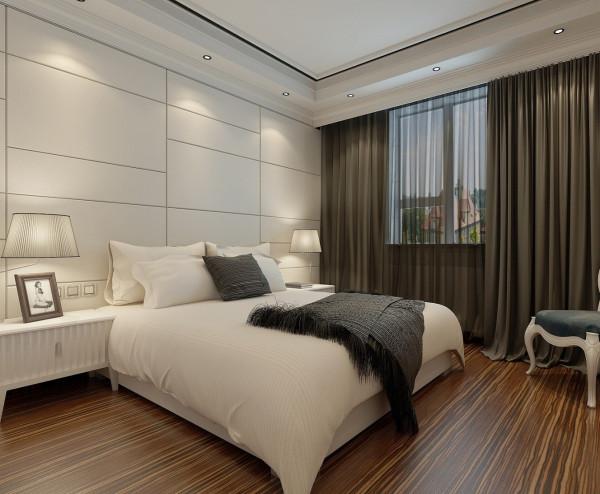 背景墙采用白色硬包,使空间简洁明快。天花白色吊边棚结合石膏线条与背景墙呼应,使空间和谐有品位。