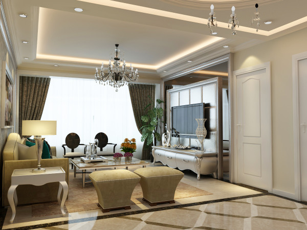 客厅是会友、娱乐的场所,是整个家居生活的重心,在设计上背景墙采用镜面与银色软包相结合,增加了整个客厅的采光性通透性,吊顶则采用经典的回字型