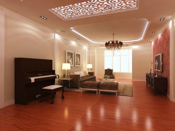客厅多处运用了福乐阁墙漆和石膏线以及笔画的配饰更能体现出欧式简约风格的特色,背景墙在色彩上形成整个客厅完美统一,沙发背景墙上的两幅精美装饰画更能体现出客厅大气温和的气氛