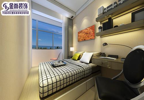 卧室墙面以白色乳胶漆为主,顶角以石膏线为主,线条硬朗简约.图片