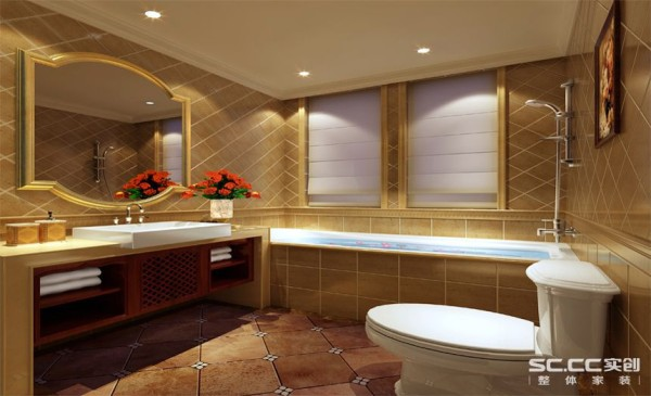 卫生间设计: 现代人更注重卫生间的设计,整个卫生间的排砖采用斜铺方式,使得整个空间看起开更精致,整体色调简洁温馨。防水石膏板的运用让材质上更为柔和