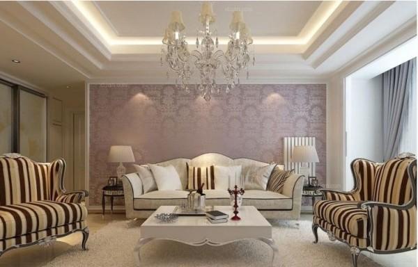 沙发背景墙主要以成平石膏线和壁纸为主。简单而不失大气。更能提升整个空间的档次。