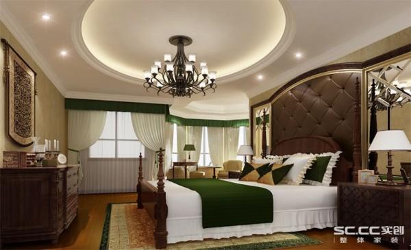 室设计: 卧室温馨浪漫,纱帘的运用,飘逸神秘。床头背景的软包和玻璃拼镜完美结合,使空间更具现代感。窗间及床边的一抹绿色让整个卧室显得春意盎然。