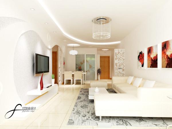 客厅沙发线条简洁,以白色为主,呈现出一些特别的设计感觉,看起来就很舒适简洁。采用镂空隔断,使其层次分明,同时也拉伸了房高。精致的水晶吊灯,高贵、典雅又不失浪漫的气氛