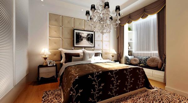 典型欧式的背景墙,整体呼应的吊灯,现代的飘窗中融入欧式的装饰,营造出一个舒适的空间环境。