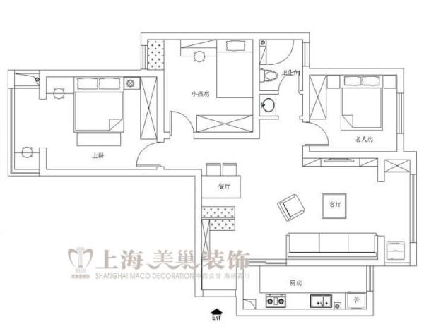 金域上郡120平三室两厅混搭风格装修户型图