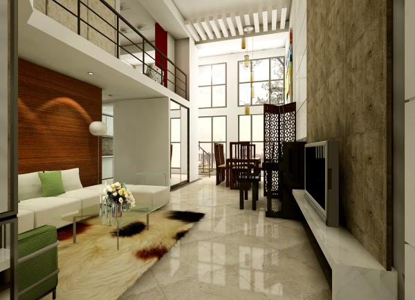 白色亮面的电视背景墙和红色的墙体相呼应,给人以视觉上的冲击,简洁个性的家具,现代感十足。