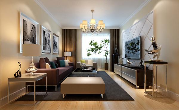简洁的电视墙造型与现代感十足的家具组合共同营造一个温馨大气的感觉。