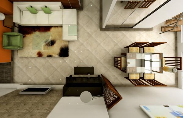 餐厅与客厅相结合,让整个空间的视觉达到统一平面。实木餐桌椅让古典的中式风格与现代风格的完美结合。