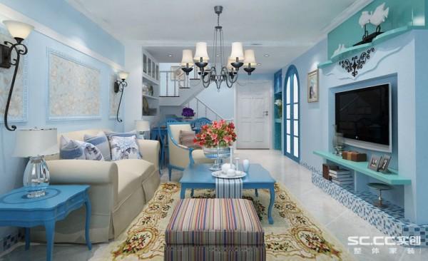 客厅的设计采用独特的手法,地中海的独特造型,蓝色的空间效果,深浅色调的对比让这个空间显得非常的自然,马赛克角线设计,凸显立体感。蓝白融合让这个空间味道十足
