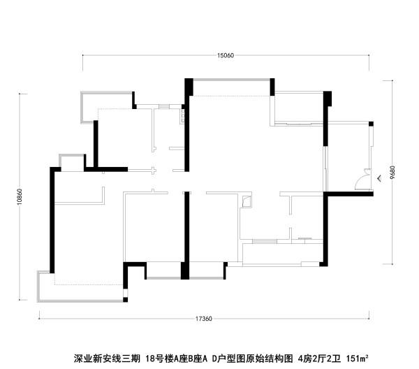 深业新安线三期 18号楼A座B座A D户型图原始结构图 4房2厅2卫 151m²
