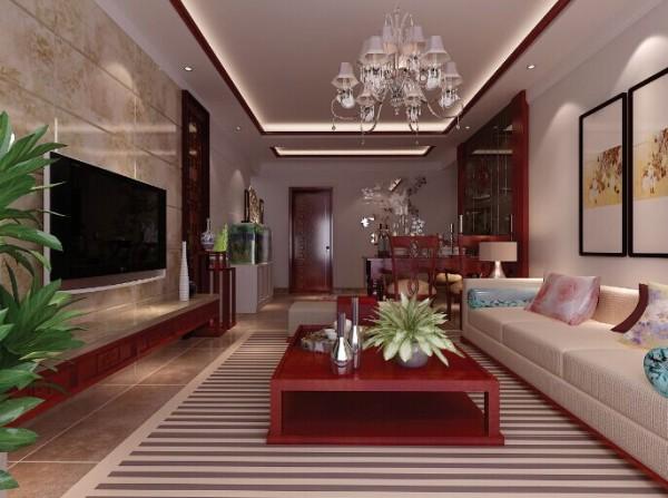 简洁的中式家具与中式风格的吊灯相呼应,木纹的背景墙与浅色的墙面形成对比,呈现出更好的空间感。