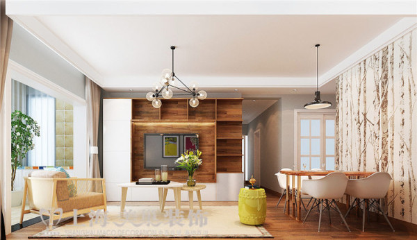贰号城邦90平两室两厅北欧风格装修效果图--电视背景墙