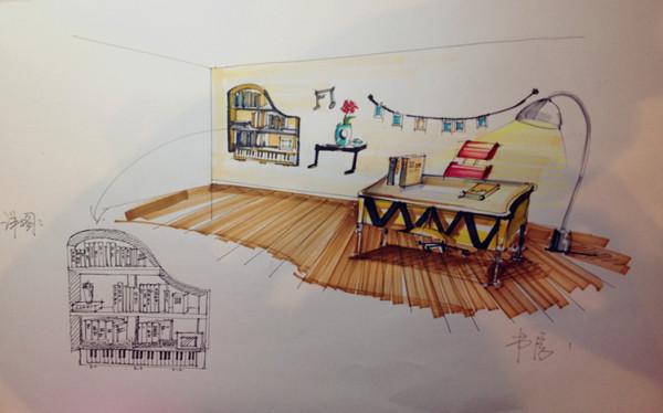 设计: 设计理念:采用暖色的墙,整个给人以一种宁静舒适的感觉!书架设计的钢琴的外观,灵感来源于业主爱好音乐
