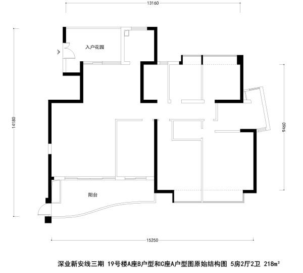 深业新安线三期19号楼A座B户型和C座A户型图原始结构图 5房2厅2卫 218m²
