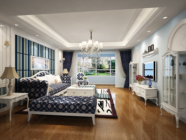 对家的期望,正是一种舒适,安逸的满足感,营造出安静,舒适氛围。电视墙的弧形门洞可以使空间更加安静,浅蓝色墙面同时也增加了时尚感。与餐厅呼应不会显得单调、冷清。