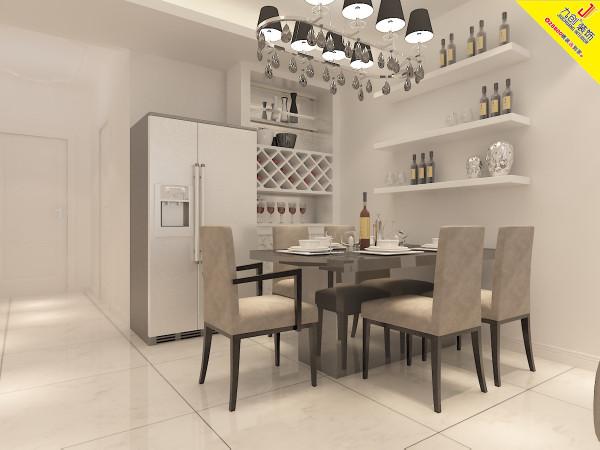 餐厅是家居生活的心脏,不仅要美观,更重要的实用性,整体性。餐厅的灯光很重要既不能太强又不能太弱,灯光则以白色为基调,墙面为白色乳胶漆,在餐桌的墙面上作了一个台面,可以作为酒柜,可以增加以下餐厅的情调。