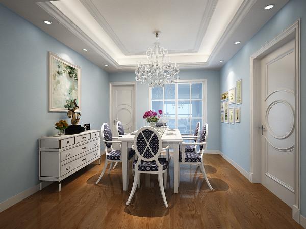 餐厅则选择了跟整体空间一样的浅蓝色,浅蓝色的使用可以使人在就餐的时候都恩呢更享受到夏日的清凉,白色的餐桌以及造型复杂的吊灯又给餐厅带来不一样的感受,达到人暖,心暖,食物暖的温馨效果。