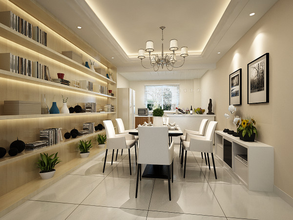 简单的顶面造型,开放式的厨房设计,让整个空间显得宽敞明亮。墙面通顶边柜在灯光的映衬下给这个空间增加了一份柔和与舒适的感受,让人忍不住想要逗留。