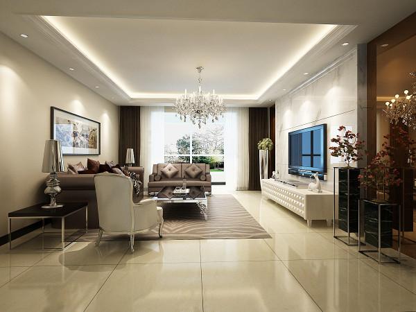 对家的期望,正是一种舒适,安逸的满足感,客厅电视背景墙采用白色石材明亮干净周边用茶镜镜点缀明暗层次分明,简洁大方。