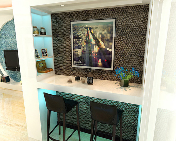 客厅与厨房之间做了个小的休闲区域,回到家打开电脑,品着名酒很休闲舒适。