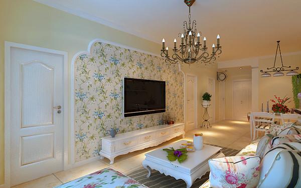 客厅:整体风格采用的是简欧田园的风格,这也是大部分小女孩比较喜欢的一种风格,整体采用米黄色的色调,让整个客厅充满一种温馨感,地面以米黄瓷砖配合墙面的整体色调,白混油的家具与米黄色调相辅相成