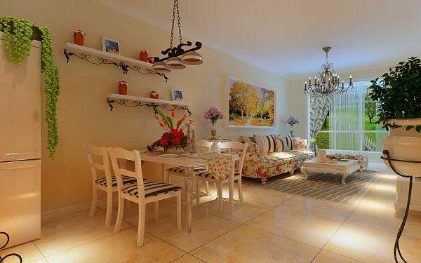 地面以米黄瓷砖配合墙面的整体色调,白混油的家具与米黄色调相辅相成,田园风格特有的黑色铁艺摆件以及蓝色花纹壁纸,使整个空间富有温馨与浪漫。