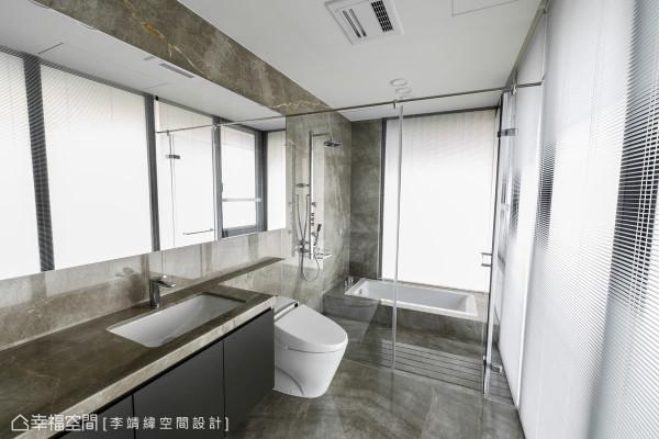 石材的大器质感、干湿分离的贴心设计,演绎优雅与舒适兼具的卫浴空间。