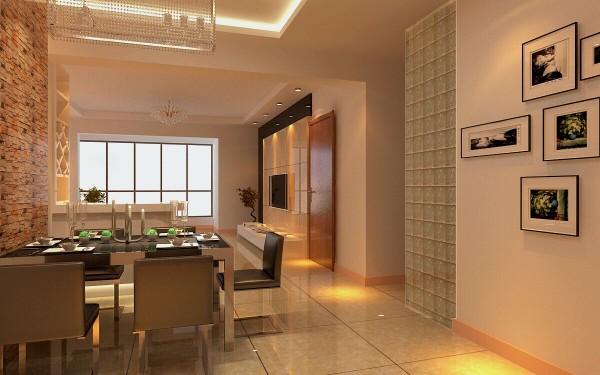 观景园(94平)三居室户型现代简约风格餐厅效果图展示