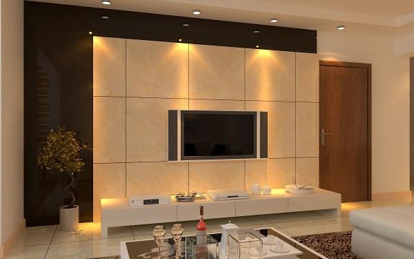 观景园(94平)三居室户型现代简约风格客厅电视背景墙效果图展示