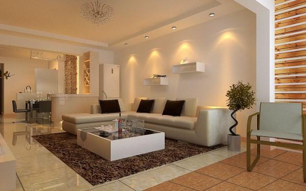 观景园(94平)三居室户型现代简约风格客厅效果图展示