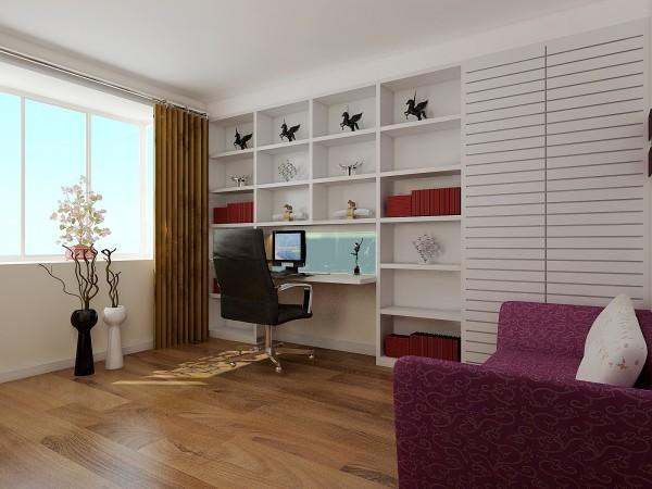 书房:设计师为了更好的节省空间,在书房的非承重墙掏了壁橱,不论是放主人喜爱的玩物还是储物都是不错的选择。