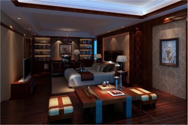 主卧:主卧作为业主休息和办公司场所,深沉的木色归至身心放松的圣地。
