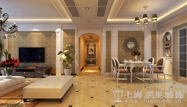 方圆经纬166平四室两厅简欧风格装修效果图--客餐厅,经典的欧式大马仕纹理,简单勾勒出经典