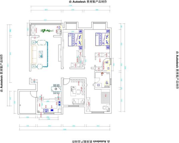 方圆经纬12号楼118平方四室两厅装修户型图