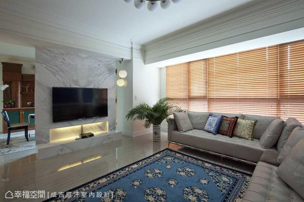 开窗上方棘手的梁体压迫,设计师廖正壹导入线板为元素,呈现包覆性的修饰之美。