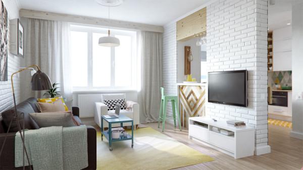 明亮的客厅装修,空间的合理搭配
