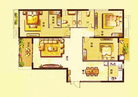 升龙城135平方三室两厅两卫户型图-(艺尚装饰提供)