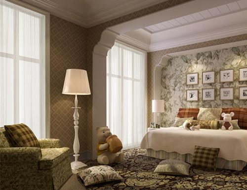 主卧室!美丽的壁纸,加上相对应的地毯,以及可爱的落地灯