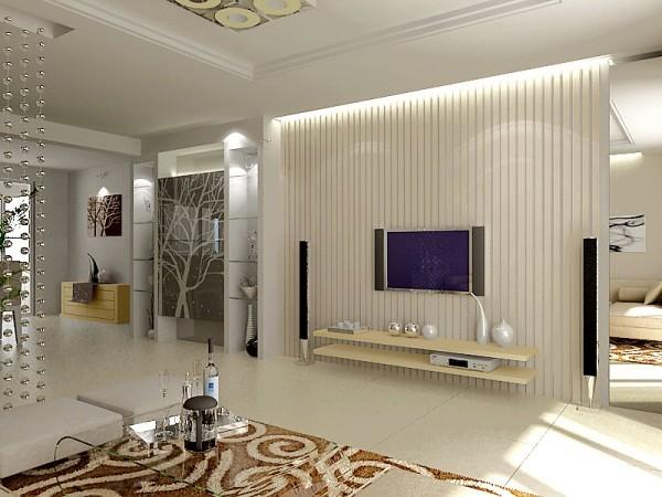 电视背景墙上方运用灯带,加以条纹壁纸,整体都显得灵动和谐。