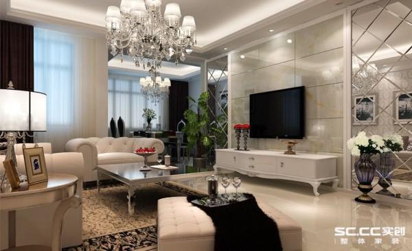 客厅的白色壁纸与白色地毯散发出的是淡雅清新的现代简欧味道。