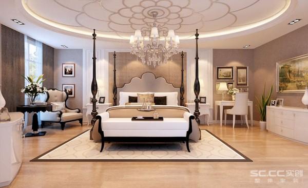 主卧房以温馨宁静取胜,壁面以石膏造型装饰,床头流畅的线条表现出活泼